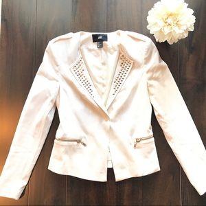 H&M Studded White Blazer Cream Size 6